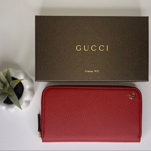 ‼️SALE‼️NEW Gucci 449347 GG Red Leather Wallet